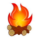 The fire on fire wood vector. Fire on fire wood camping vector Stock Photos
