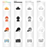 Fire, firemen in uniform, protective helmet, burning building. Fire Department set collection icons in cartoon black. Monochrome outline style vector symbol Stock Images