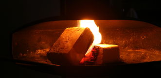 Fire at the fireplace Royalty Free Stock Photos