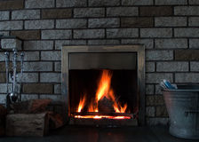 Fire in the fireplace Royalty Free Stock Images