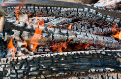 Fire in a fireplace. Fire in fireplace close up Stock Images