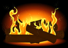 Fire in the fireplace. Vector iilustration,  AI file included Royalty Free Stock Images