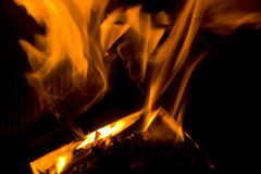 Fire in fireplace Stock Photography