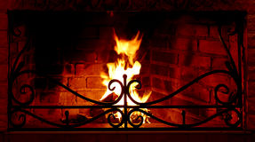 Fire in fireplace Royalty Free Stock Photo