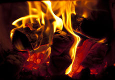 Fire in fireplace. Close up Stock Image