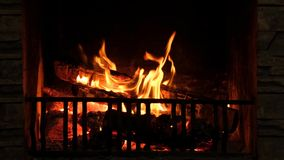 Fire in the fireplace stock footage