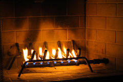Fire in the fireplace Stock Photography