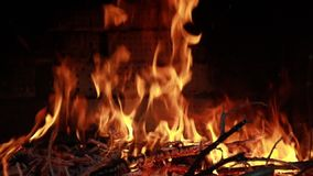 Fire in the fireplace. Bright yellow and red flames stock video