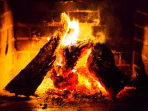 Fire in a fireplace Stock Image
