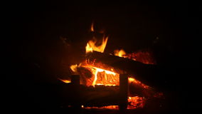 Fire in fireplace stock video footage
