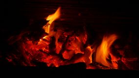 Fire in fireplace. Burning fire in fireplace in the middle of winter stock footage