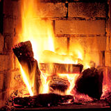 Fire in fireplace Stock Image