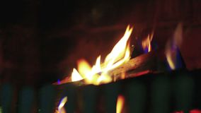 Fire in fireplace - close up stock video footage