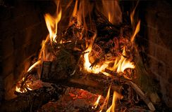 Fire in Fireplace Closeup Royalty Free Stock Photo