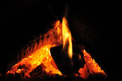 Fire in the Fireplace closeup Royalty Free Stock Image