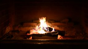 Fire in fireplace. Closeup of firewood burning in stock video