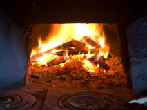 Fire in fireplace. Stock Photo