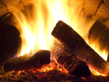 Fire in fireplace. Royalty Free Stock Image