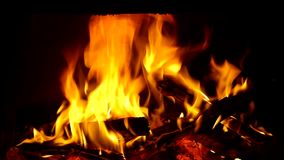 Fire in fireplace. stock video