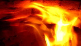 Fire in fireplace. stock footage