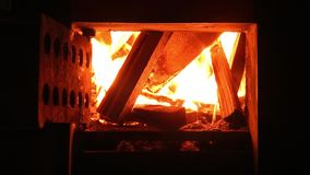 Fire in the fireplace stock video