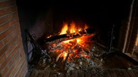 Fire on Fireplace. Interior shot stock video footage