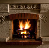 Fire in Fireplace Royalty Free Stock Photos