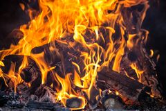 Fire in a fireplace Stock Photography