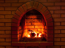 Fire in  fireplace Royalty Free Stock Image