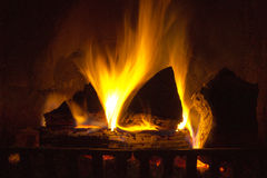 Fire. Place  in logs Stock Photography
