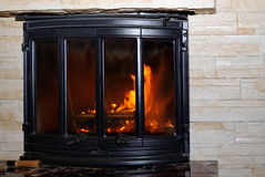 Fire in the fireplace. Stock Image