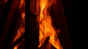 Fire in fireplace. In the middle of winter stock footage