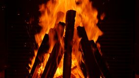 Fire in fireplace. In the middle of winter stock video footage