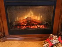 Fire in a fireplace. Protective glass in front of stock video footage