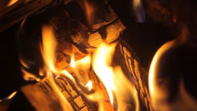 Fire in the fireplace Stock Photo