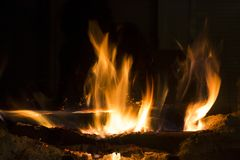 Fire in the Fireplace. Warm house. Fire in Fireplace. Warm house. flames contenplation royalty free stock photography