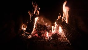 Fire fireplace wood night dark Royalty Free Stock Photography