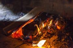 Fire. Place wood  smoke light Royalty Free Stock Image