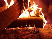 Fire fireplace woods flame winter home night background. 1 Stock Image