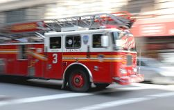 Fire - Firetruck on Rush in NY Royalty Free Stock Image