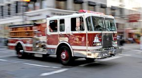 Fire - Firetruck on Rush in San Francisco Royalty Free Stock Photos