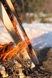 Fire firewood outside snow winter forest trees royalty free stock photo
