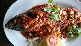 Fire fish with tamarind sauce. Thai saefood Royalty Free Stock Photo