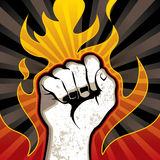 Fire fist. Background. Vector illustration Royalty Free Stock Photography