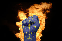 Fire fist with the flag of indiana Stock Images