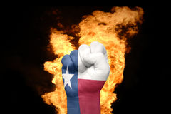 Fire fist with the flag of texas Royalty Free Stock Photo