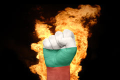 Fire fist with the national flag of bulgaria Royalty Free Stock Photo