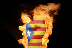 Fire fist with the national flag of catalonia Stock Photography