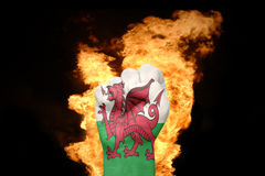 Fire fist with the national flag of wales Royalty Free Stock Image
