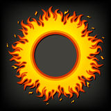 Fire, flame. Original fire, flame frame. Designed like a sticker, emblem Stock Images
